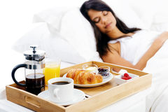 Breakfast in bed service Royalty Free Stock Photography