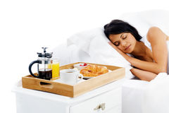 Breakfast in bed service Stock Photography