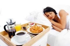 Breakfast in bed service Stock Images