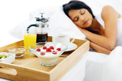 Breakfast in bed service Royalty Free Stock Images
