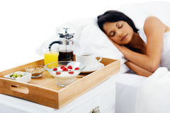 Breakfast in bed service Stock Image