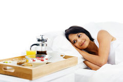Breakfast in bed service Royalty Free Stock Photos