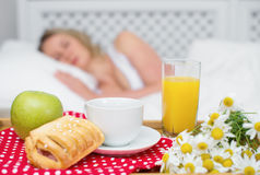 Breakfast in bed. Stock Photo