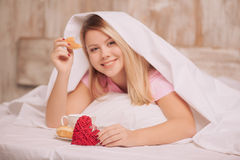 Breakfast in bed to valentines day Stock Photography