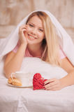 Breakfast in bed to valentines day Stock Images