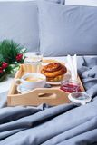 Breakfast Bed Tray Coffee Bun Grey Early Morning Royalty Free Stock Image