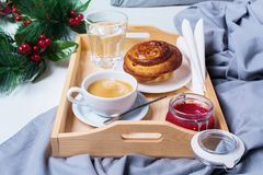 Breakfast Bed Tray Coffee Bun Grey Early Morning Stock Image