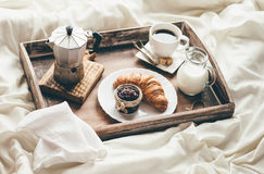 Breakfast in bed. Window light Royalty Free Stock Photography