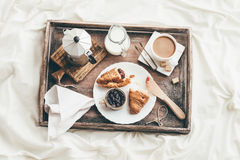 Breakfast in bed. Window light Stock Photos