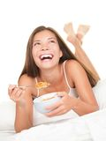 Breakfast in bed woman Royalty Free Stock Photography