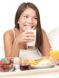 Breakfast in bed woman Stock Photo