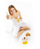 Breakfast in bed woman Stock Photos