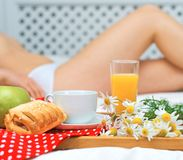 Breakfast in bed. Stock Photos