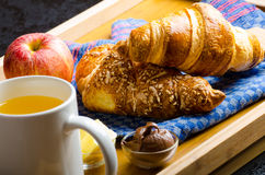 Breakfast in bed on wood tray Royalty Free Stock Image
