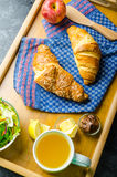 Breakfast in bed on wood tray Royalty Free Stock Photos