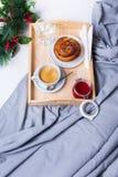 Breakfast Bed Tray Coffee Bun Grey Early Morning Stock Photos