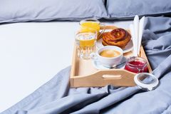 Breakfast Bed Tray Coffee Bun Grey Early Morning Stock Photography