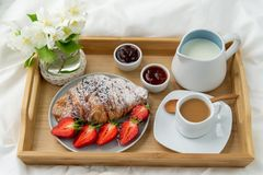 Breakfast in bed. royalty free stock images