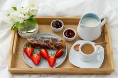Breakfast in bed. royalty free stock photos
