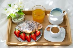 Breakfast in bed. royalty free stock image
