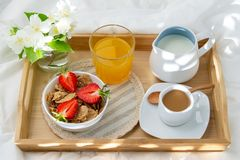 Breakfast in bed. stock images