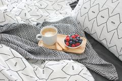 Breakfast bed Wooden tray Early morning Concept interior stock image