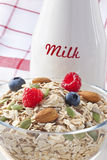 Breakfast Berries Cereal Milk Stock Photo