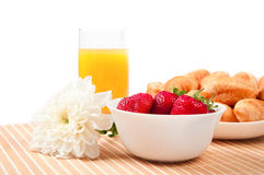 Breakfast with berries,orange juice and croissant Royalty Free Stock Images