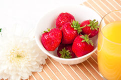 Breakfast with berries,orange juice and croissant Stock Photography