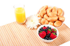 Breakfast with berries,orange juice and croissant Royalty Free Stock Image