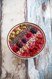 Breakfast berry smoothie bowl Stock Images