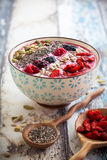 Breakfast berry smoothie bowl stock photography