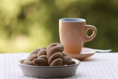 Breakfast with biscuits of pastry. In the garden Stock Photography