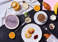 Breakfast on black background Stock Images