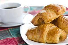 Breakfast with black coffee and croissants Stock Photography