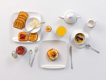 Breakfast with black coffee, toasts, butter, egg, juice, jam and fruit cake  on white. 3D illustration Royalty Free Stock Photos