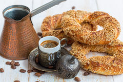 Breakfast with black coffee and Turkish bagels. Stock Photo