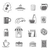 Breakfast Black White Icons Set Royalty Free Stock Photo