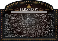 Breakfast on Blackboard Royalty Free Stock Images
