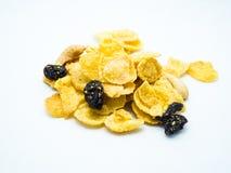 Breakfast blend of cornflake and raisins. Cornflake, raisins and cashew mix Stock Photo