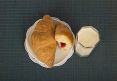 Breakfast on a blue bamboo napkin Stock Photo