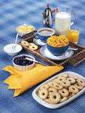 Breakfast. Blue tablecloth, breakfast, morning meal Royalty Free Stock Photo