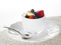 Breakfast of blueberries strawberries banana Stock Image