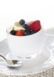 Breakfast of blueberries strawberries banana Stock Photos
