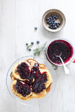 Breakfast With Blueberry Pancakes Royalty Free Stock Photo