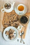 Breakfast with blueberry pie Stock Images