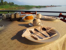 Breakfast. On the boat in Mae Khong river Royalty Free Stock Image