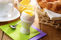 Breakfast of boiled egg  coffee croissant and  butter. Breakfast of boiled egg coffee croissant and butter Stock Image