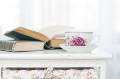Breakfast with books and tea Royalty Free Stock Images