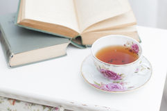 Breakfast with books and tea Royalty Free Stock Image